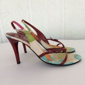PIERRE DUMAS FLORAL RED HEEL SANDALS 5.5